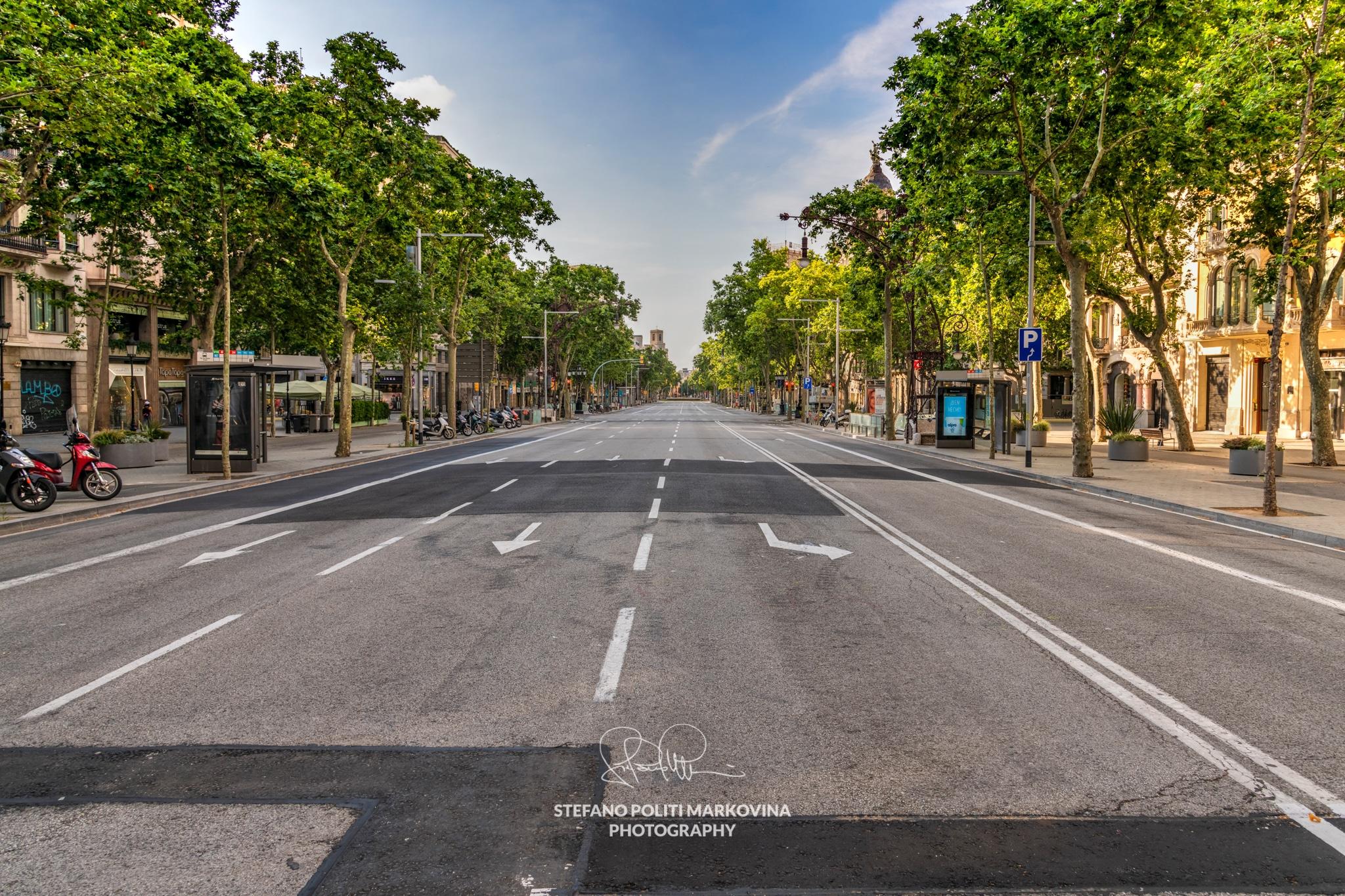 Passeig de Gracia avenue empty during the imposed lockdown due to covid-19 outbreak, Barcelona, Spain
