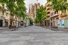 Avinguda Gaudi street empty during the imposed lockdown due to covid-19 outbreak, Barcelona, Spain