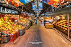 Boqueria food market without tourists, Barcelona, Catalonia, Spain