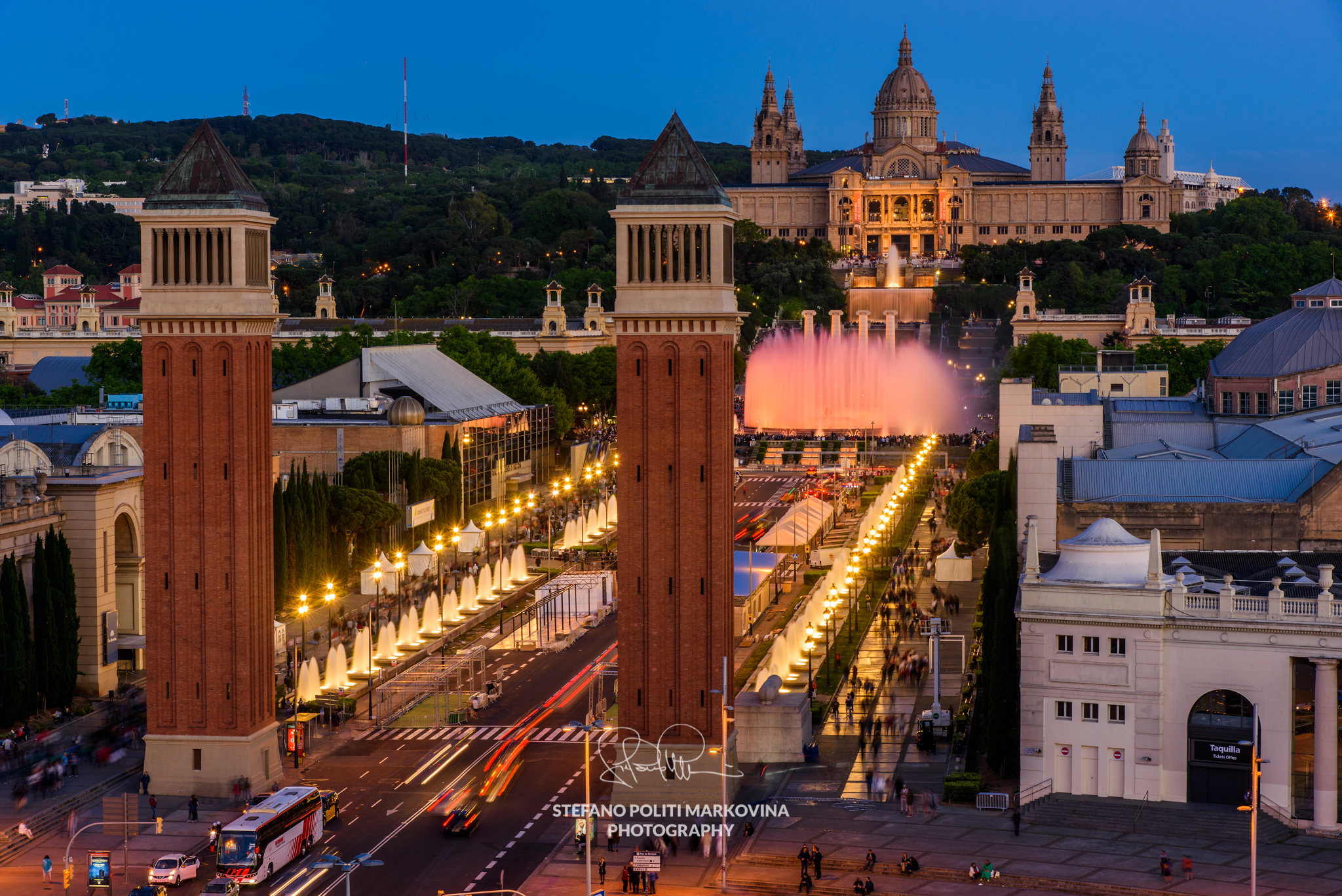 Night skyline, Barcelona, Catalonia, Spain
