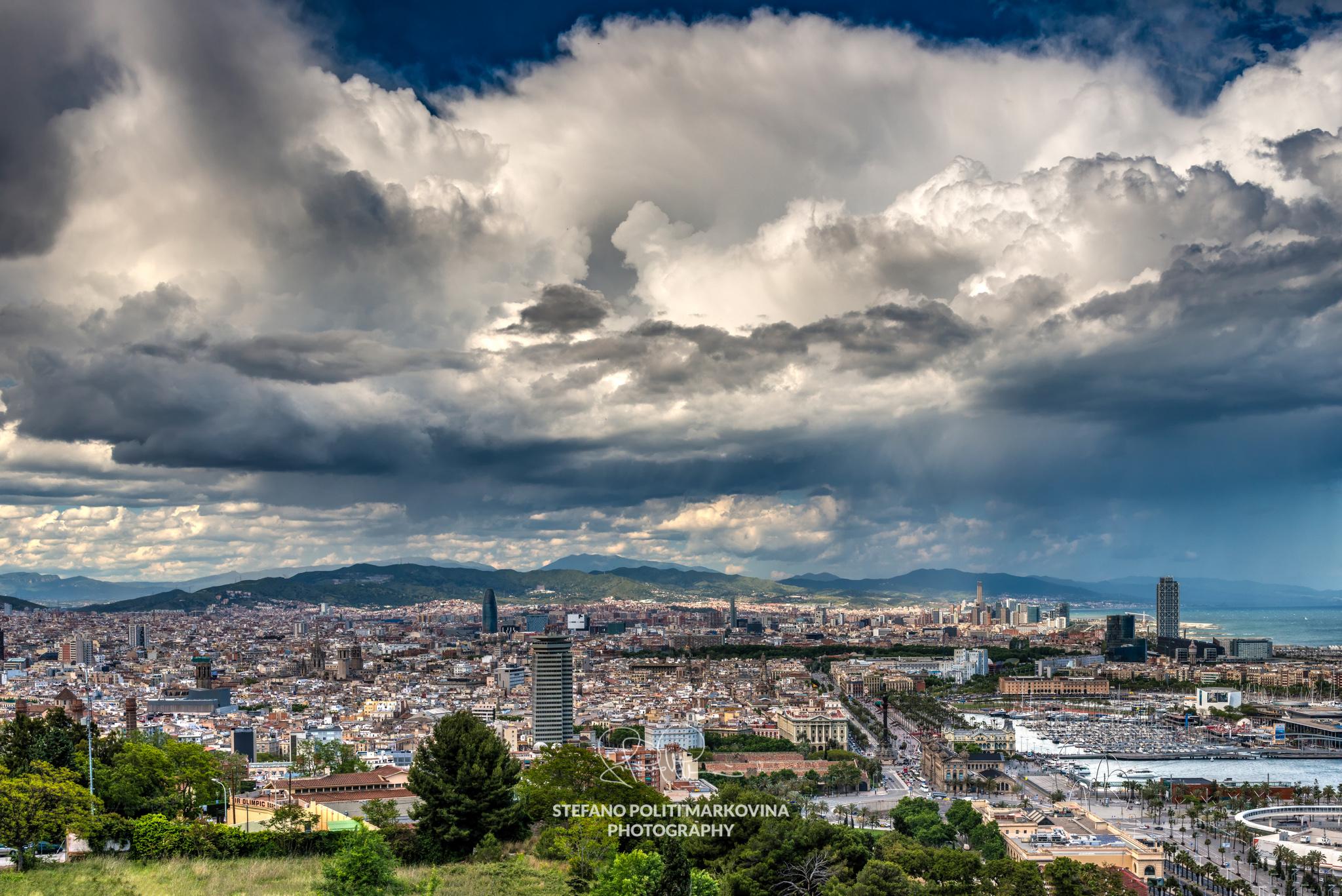 City skyline from Montjuïc, Barcelona, Catalonia, Spain