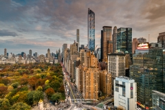 City skyline at sunset with autumn colors at Central Park, Manhattan, New York, USA