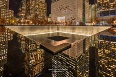 Night view of the Northern Pool, National September 11 Memorial & Museum, Lower Manhattan, New York, USA