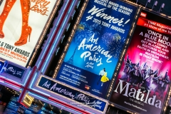 Musicals billboards, Theatre District, Broadway, New York, USA
