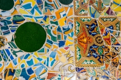Detail of Gaudí's mosaic work in the bench at Park Guell, Barcelona, Catalonia, Spain