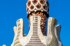 Detail of the pavilion at the entrance of Park Guell, Barcelona, Catalonia, Spain