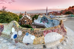 Park Guell and city skyline at sunset, Barcelona, Catalonia, Spain