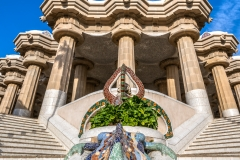 Main staircase with multicolored mosaic salamander, Park Guell, Barcelona, Catalonia, Spain