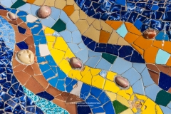 Detail of Gaudi\'s multicolored mosaic salamander, Park Guell, Barcelona, Catalonia, Spain, detail,