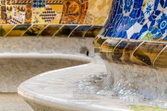 Tiled serpentine bench, Park Guell, Barcelona, Catalonia, Spain