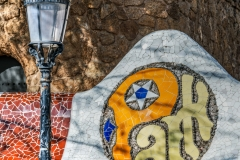 Tiled Park Guell sign, Park Guell, Barcelona, Catalonia, Spain, street ,