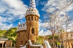 Porter's Residence pavilion, Park Guell, Barcelona, Catalonia, Spain