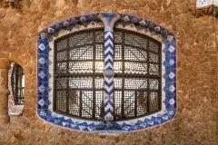 Window, Porter's Residence pavilion, Park Guell, Barcelona, Catalonia, Spain