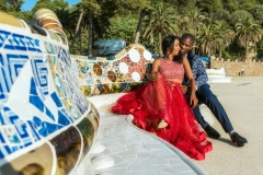 Honey moon photo shoot at Park Guell, Barcelona, Spain