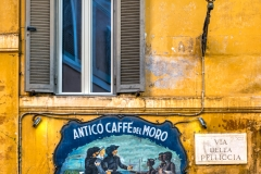 Old bar cafe sign in Trastevere district, Rome, Lazio, Italy