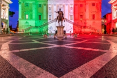 Palazzo Senatorio illuminated with the colors of the Italian flag, Rome, Lazio, Italy