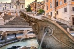Barcaccia fountain, Piazza di Spagna and Spanish Steps, Rome, Lazio, Italy