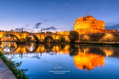 Castel Sant'Angelo or Mausoleum of Hadrian and Tiber river, Rome, Lazio, Italy