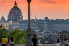 Sunset view from Pincio terrace, Rome, Lazio, Italy