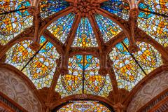 Stained glass ceiling inside Hospital de la Santa Creu i Sant Pau, Barcelona, Catalonia, Spain