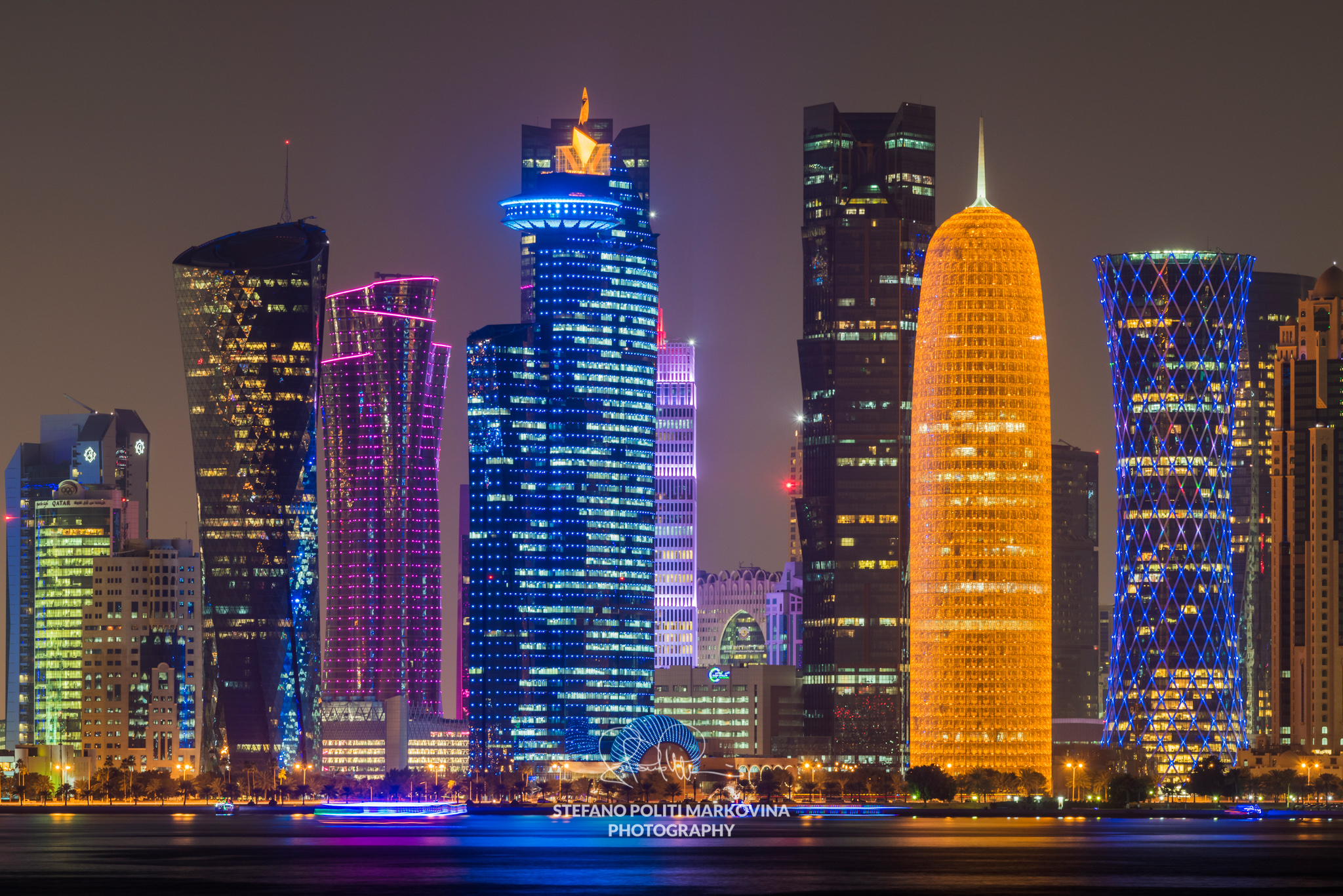 Night view of the business district skyline, Doha, Qatar