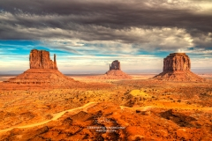 Stormy sky over the Mittens, Monument Valley Navajo Tribal Park, Arizona, USA