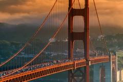 Sunset view over the Golden Gate bridge, San Francisco, California, USA