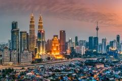 City skyline at sunset, Kuala Lumpur, Malaysia