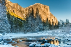 Winter snowy landscape with El Capitan mountain in the foreground, Yosemite National Park, California, USA