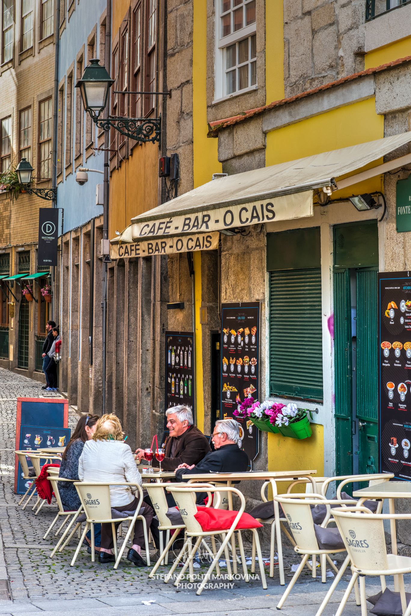 Cafe bar in Ribeira district, Porto, Portugal