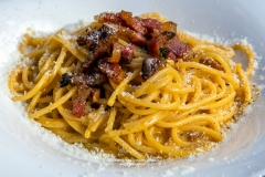 Spaghetti Carbonara served in a restaurant of Rome, Italy
